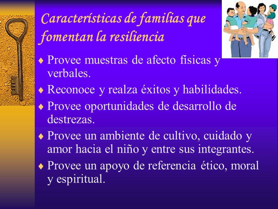 Provee muestras de afecto físicas y verbales. Reconoce y realza éxitos y habilidades. Provee oportunidades de desarrollo de destrezas. Provee un ambie