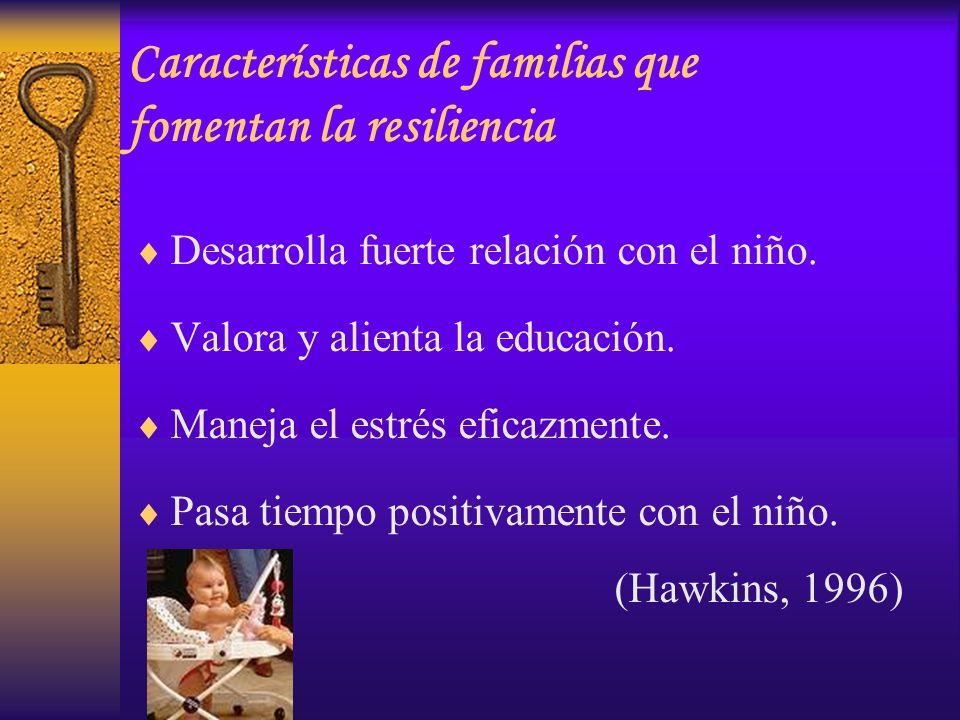 Desarrolla fuerte relación con el niño. Valora y alienta la educación. Maneja el estrés eficazmente. Pasa tiempo positivamente con el niño. (Hawkins,