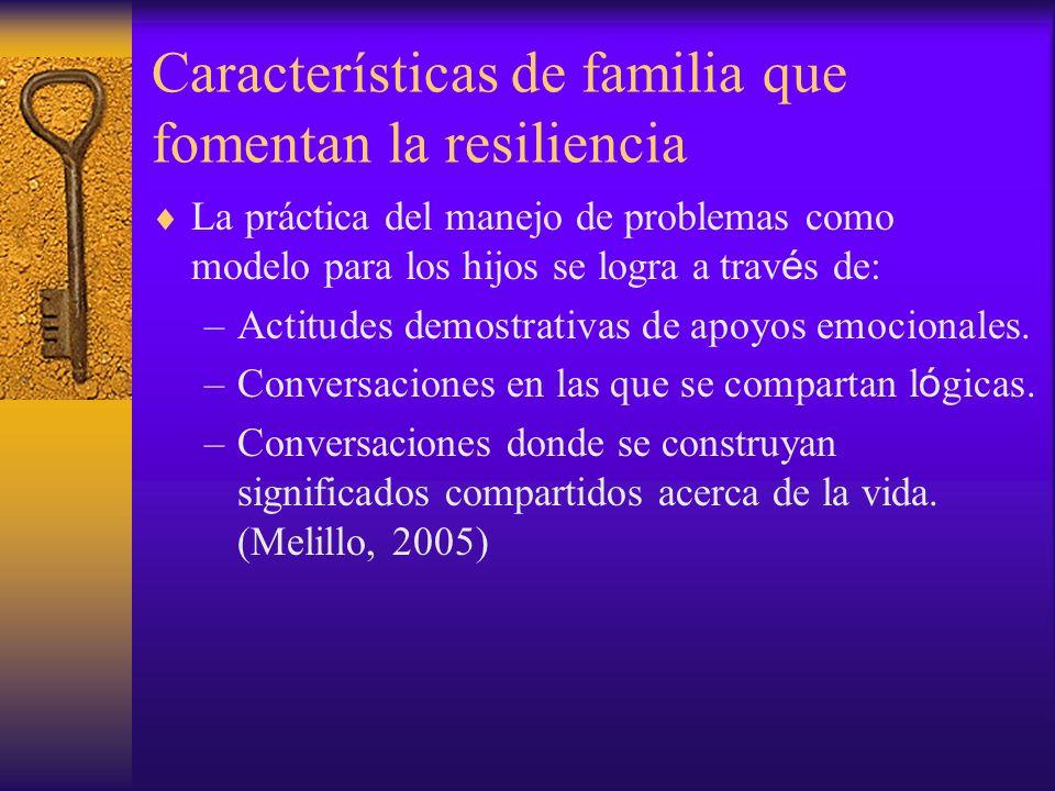 Características de familia que fomentan la resiliencia La práctica del manejo de problemas como modelo para los hijos se logra a trav é s de: –Actitud