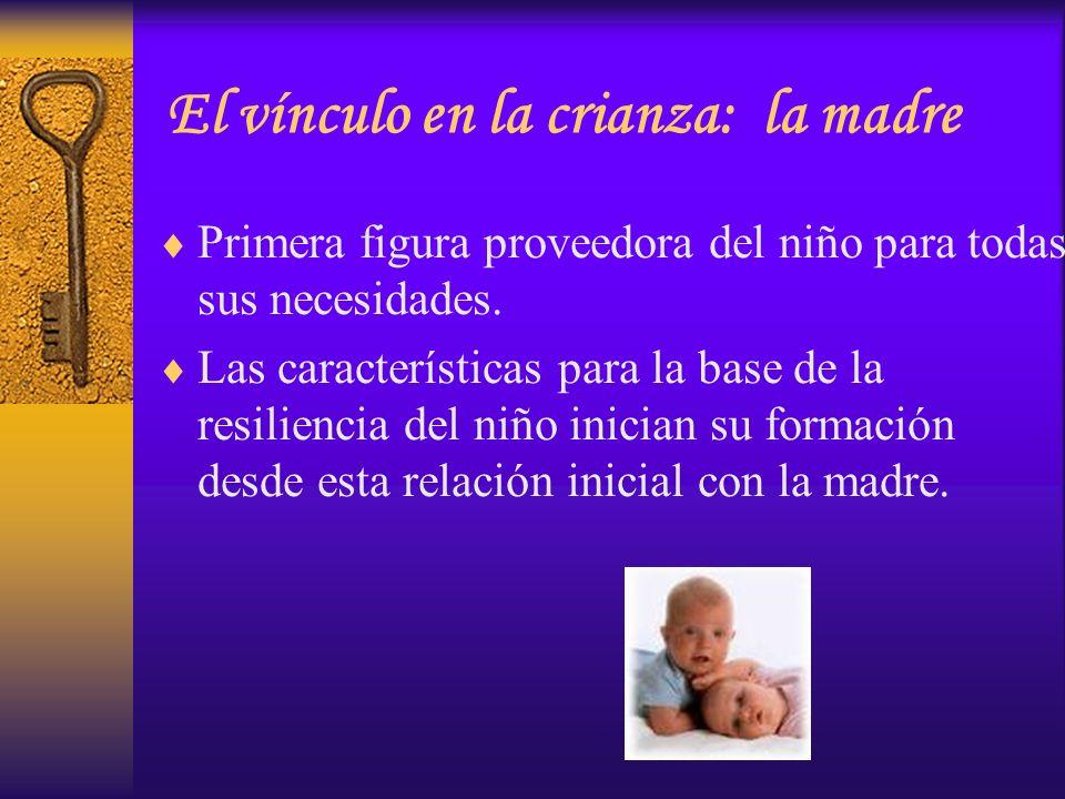 El vínculo en la crianza: la madre Primera figura proveedora del niño para todas sus necesidades. Las características para la base de la resiliencia d