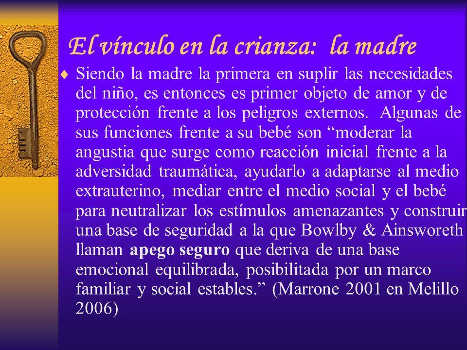 El vínculo en la crianza: la madre Siendo la madre la primera en suplir las necesidades del niño, es entonces es primer objeto de amor y de protección