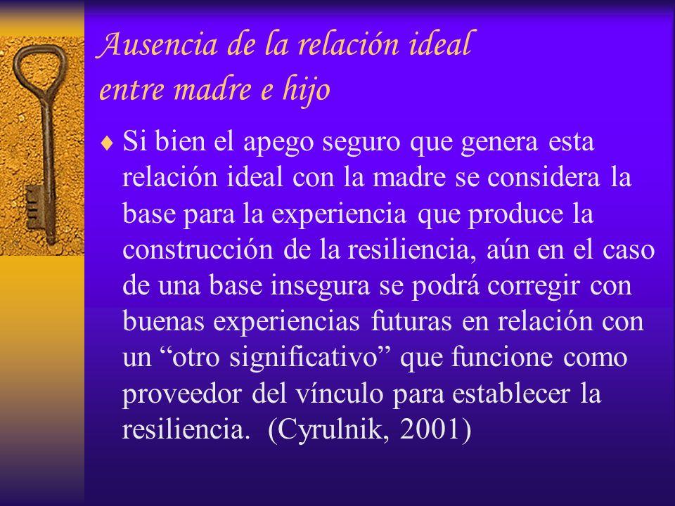 Ausencia de la relación ideal entre madre e hijo Si bien el apego seguro que genera esta relación ideal con la madre se considera la base para la expe