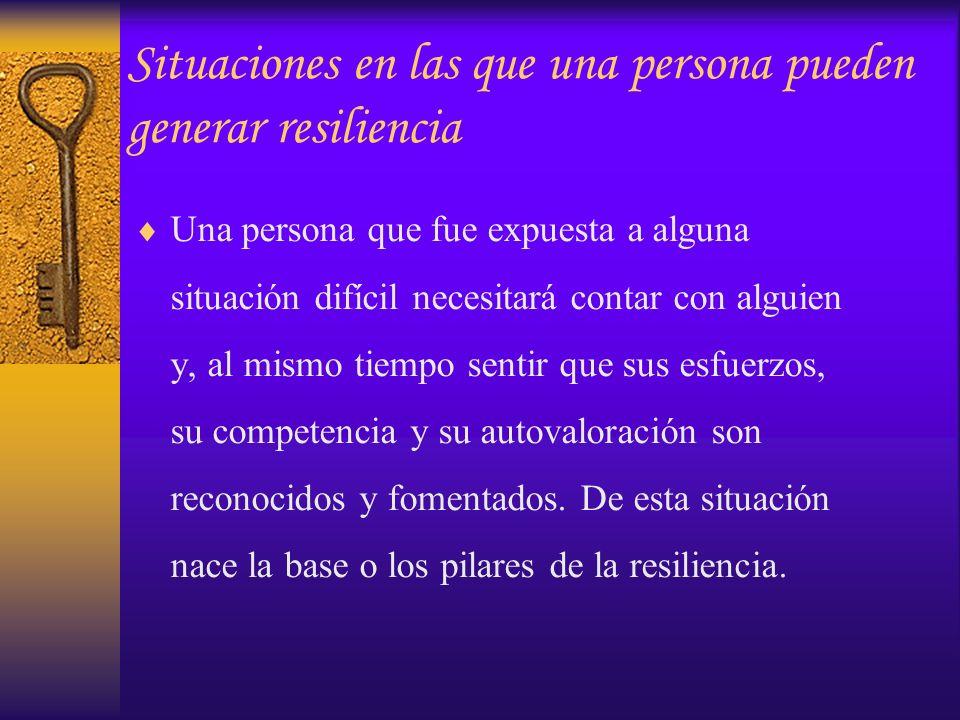 –Importancia del vínculo en la resiliencia Otro significativo (Cyrulnik, 2001) Me han querido, luego soy digno de ser querido, conservo entonces la esperanza de encontrar alguien que me ayude a reanudar mi desarrollo (Munist, Santos, Kotliarenco, Suárez-Ojeda, 1998) Alcance del vínculo en la resiliencia