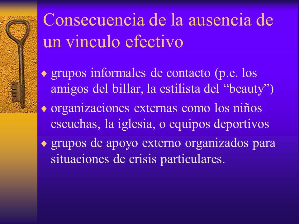 grupos informales de contacto (p.e. los amigos del billar, la estilista del beauty) organizaciones externas como los niños escuchas, la iglesia, o equ