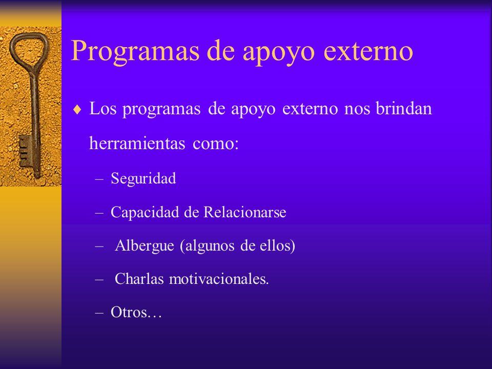 Programas de apoyo externo Los programas de apoyo externo nos brindan herramientas como: –Seguridad –Capacidad de Relacionarse – Albergue (algunos de