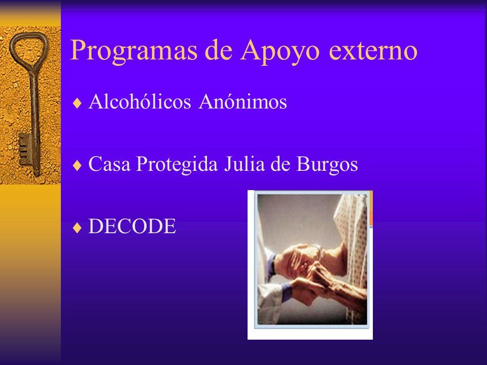 Programas de Apoyo externo Alcohólicos Anónimos Casa Protegida Julia de Burgos DECODE