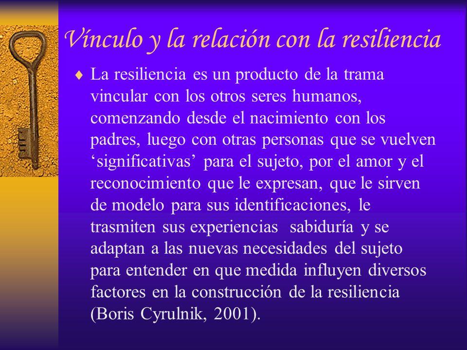 La resiliencia es un producto de la trama vincular con los otros seres humanos, comenzando desde el nacimiento con los padres, luego con otras persona
