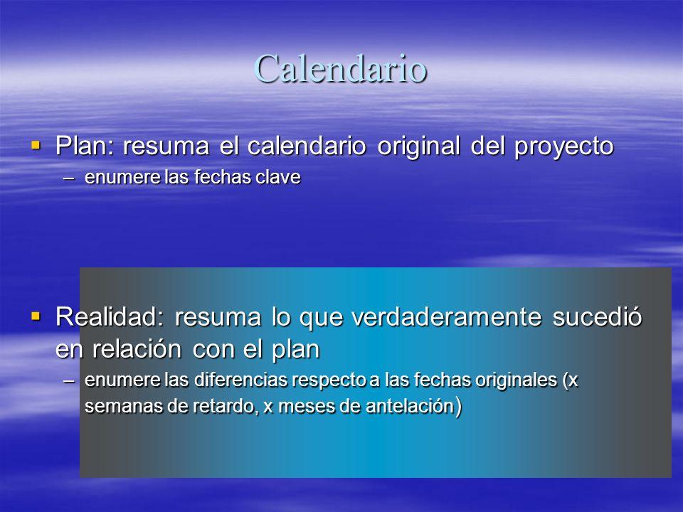 Calendario Plan: resuma el calendario original del proyecto Plan: resuma el calendario original del proyecto –enumere las fechas clave Realidad: resum