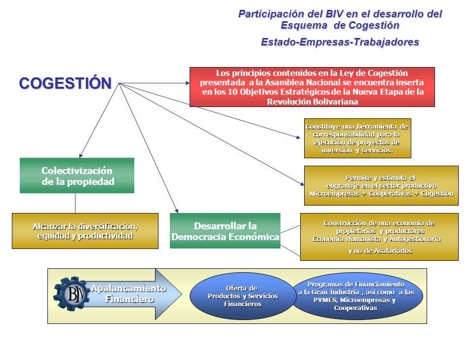 Participación del BIV en el desarrollo del Esquema de Cogestión Estado-Empresas-Trabajadores Los principios contenidos en la Ley de Cogestión presenta