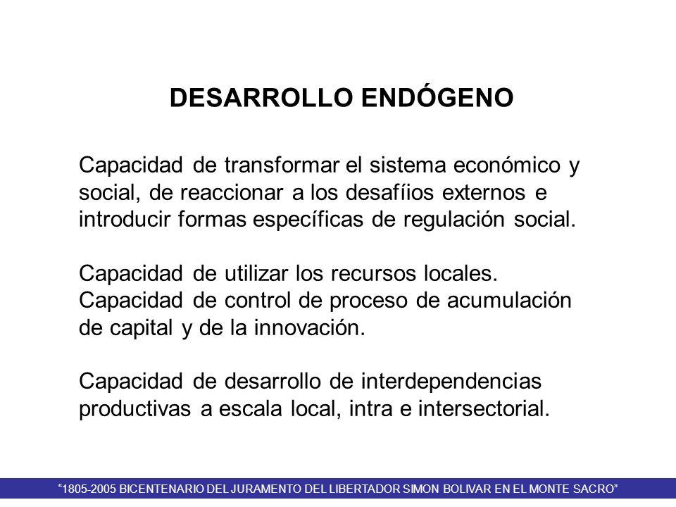 DESARROLLO ENDÓGENO Capacidad de transformar el sistema económico y social, de reaccionar a los desafíios externos e introducir formas específicas de