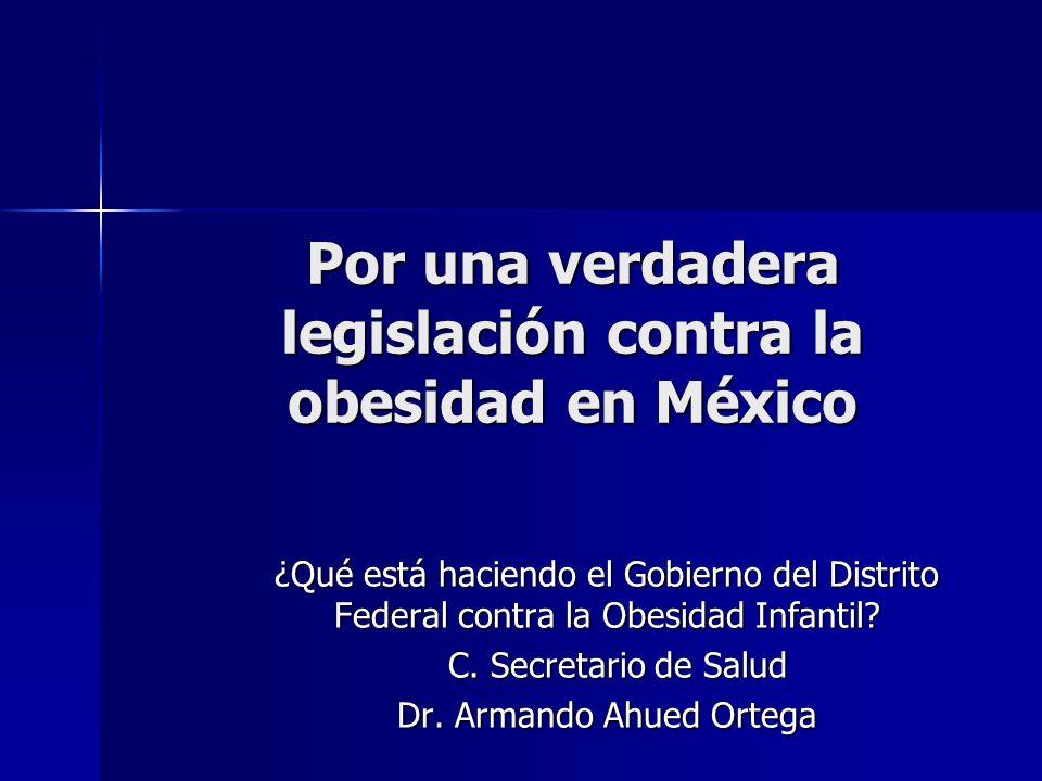 El problema de Obesidad Requiere la participación de la ciudadanía Requiere la participación de la ciudadanía –Padres –Maestros –Alumnos –Comerciantes –Funcionarios