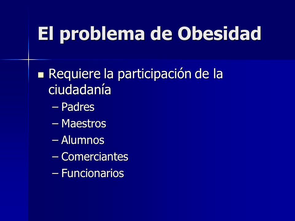 El problema de Obesidad Requiere la participación de la ciudadanía Requiere la participación de la ciudadanía –Padres –Maestros –Alumnos –Comerciantes