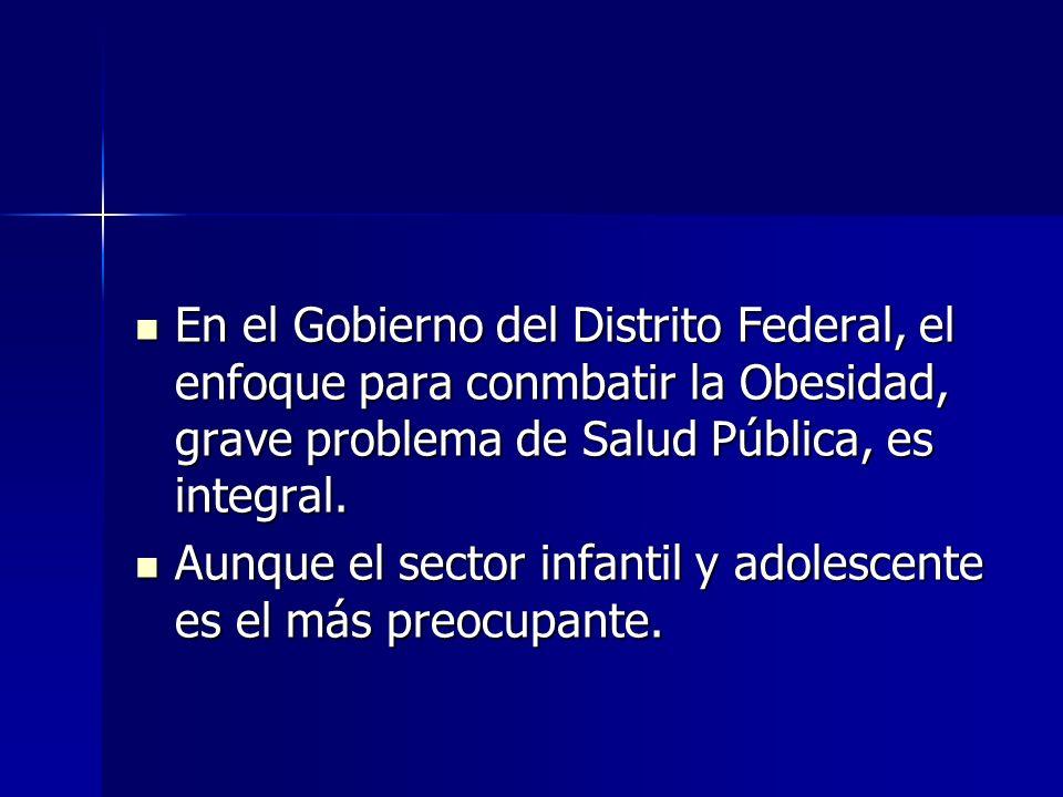 En el Gobierno del Distrito Federal, el enfoque para conmbatir la Obesidad, grave problema de Salud Pública, es integral. En el Gobierno del Distrito