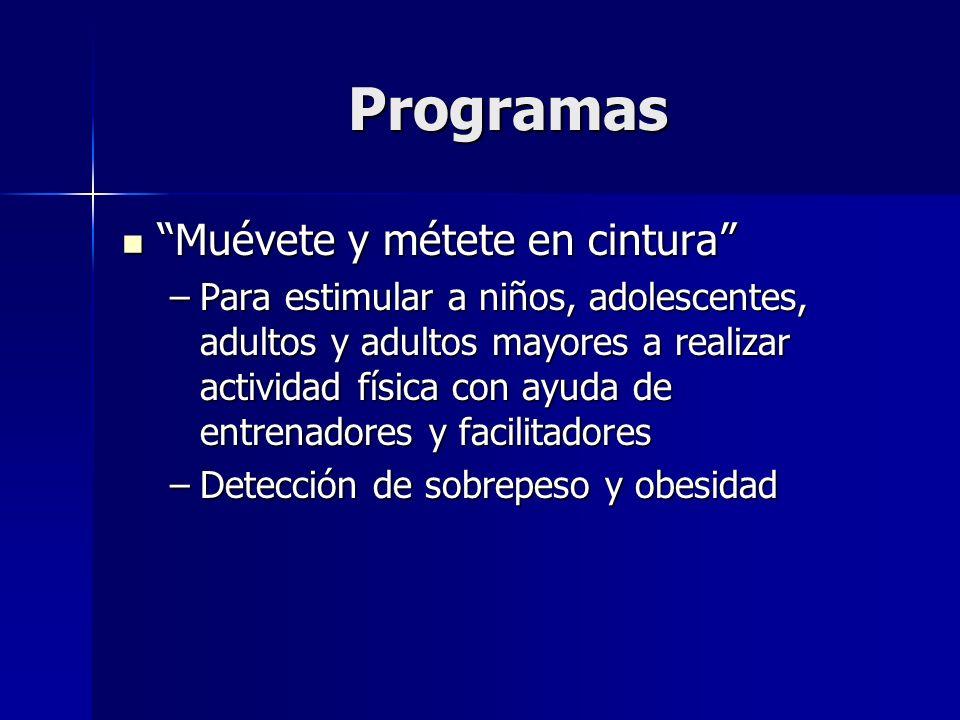 Programas Caminatas por la salud Caminatas por la salud –En el Zócalo –En Reforma y otras avenidas –En las delegaciones –Junto con detección de sobrepeso y obesidad