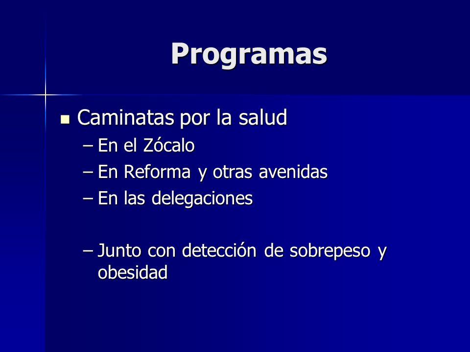 Programas Caminatas por la salud Caminatas por la salud –En el Zócalo –En Reforma y otras avenidas –En las delegaciones –Junto con detección de sobrep