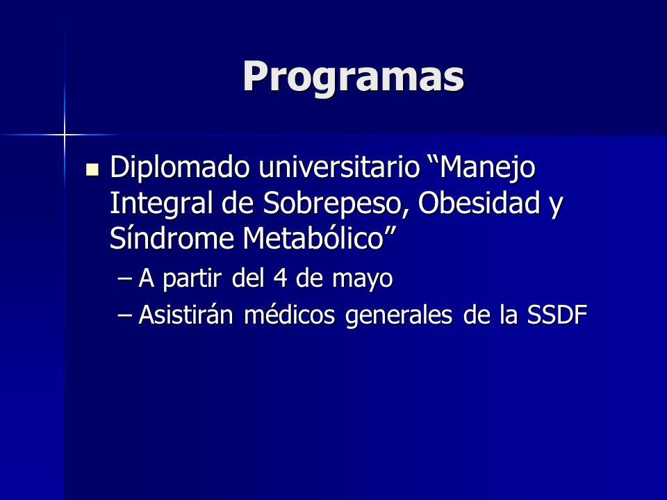 Programas Diplomado universitario Manejo Integral de Sobrepeso, Obesidad y Síndrome Metabólico Diplomado universitario Manejo Integral de Sobrepeso, O