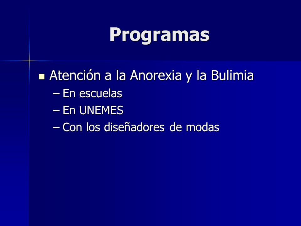 Programas Atención a la Anorexia y la Bulimia Atención a la Anorexia y la Bulimia –En escuelas –En UNEMES –Con los diseñadores de modas