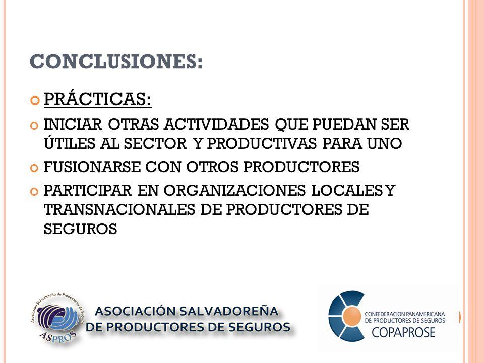 CONCLUSIONES: PRÁCTICAS: INICIAR OTRAS ACTIVIDADES QUE PUEDAN SER ÚTILES AL SECTOR Y PRODUCTIVAS PARA UNO FUSIONARSE CON OTROS PRODUCTORES PARTICIPAR EN ORGANIZACIONES LOCALES Y TRANSNACIONALES DE PRODUCTORES DE SEGUROS