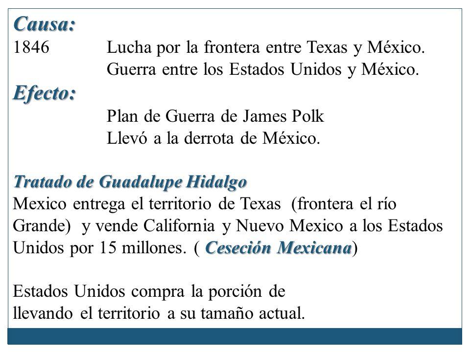 Causa: 1846 Lucha por la frontera entre Texas y México. Guerra entre los Estados Unidos y México.Efecto: Plan de Guerra de James Polk Llevó a la derro