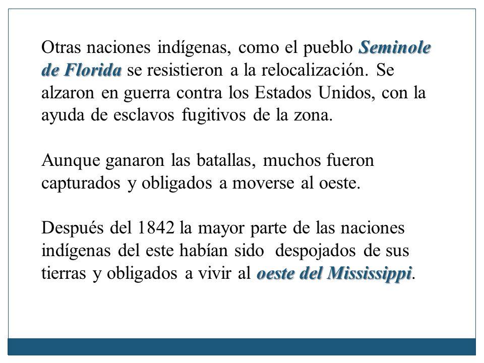 Seminole de Florida Otras naciones indígenas, como el pueblo Seminole de Florida se resistieron a la relocalización. Se alzaron en guerra contra los E
