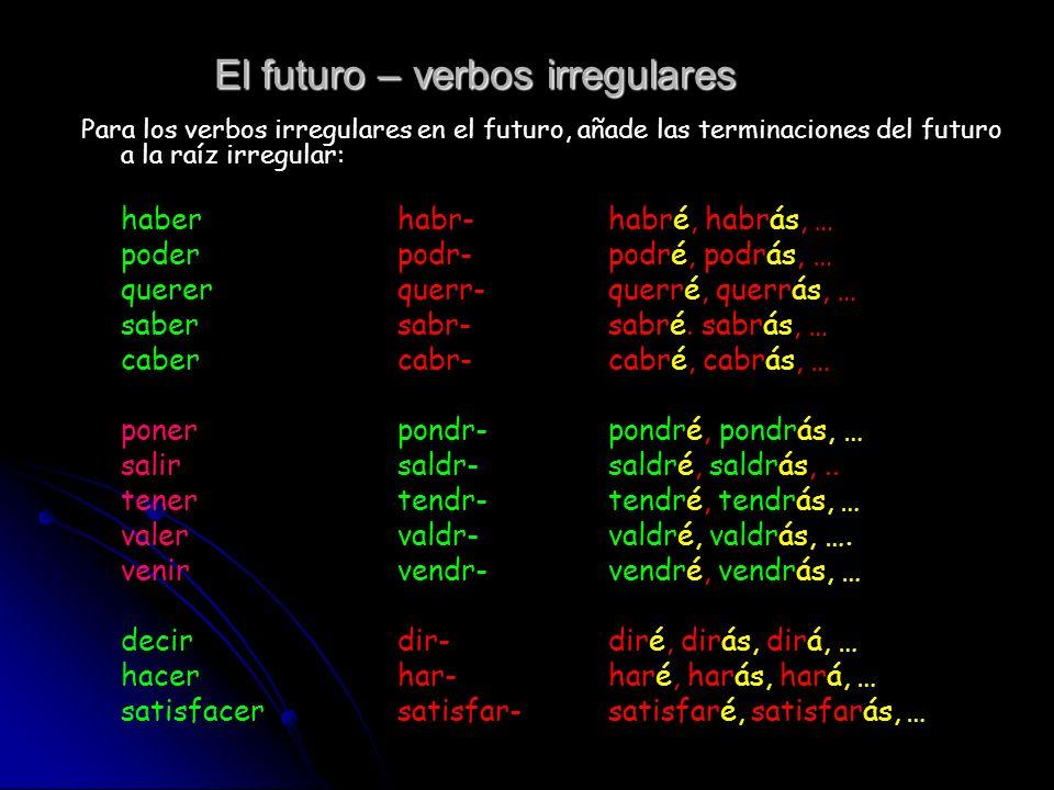El futuro Se añade las terminaciones del futuro al infinitivo del verbo.