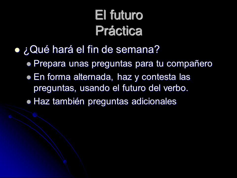 El futuro En contacto: Gramática: p.97 4-12 1.será 2.