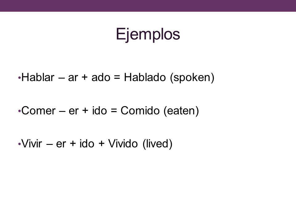 Ejemplos Hablar – ar + ado = Hablado (spoken) Comer – er + ido = Comido (eaten) Vivir – er + ido + Vivido (lived)