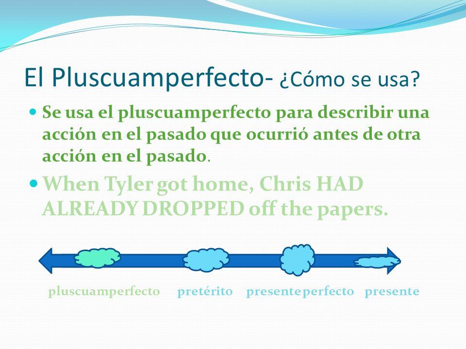 El Pluscuamperfecto- ¿Cómo se usa? Se usa el pluscuamperfecto para describir una acción en el pasado que ocurrió antes de otra acción en el pasado. Wh