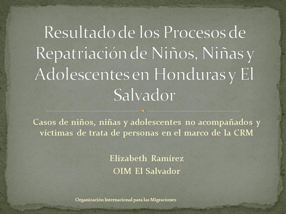 Casos de niños, niñas y adolescentes no acompañados y víctimas de trata de personas en el marco de la CRM Elizabeth Ramírez OIM El Salvador Organizaci