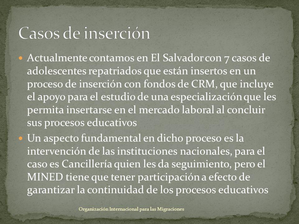 Actualmente contamos en El Salvador con 7 casos de adolescentes repatriados que están insertos en un proceso de inserción con fondos de CRM, que inclu