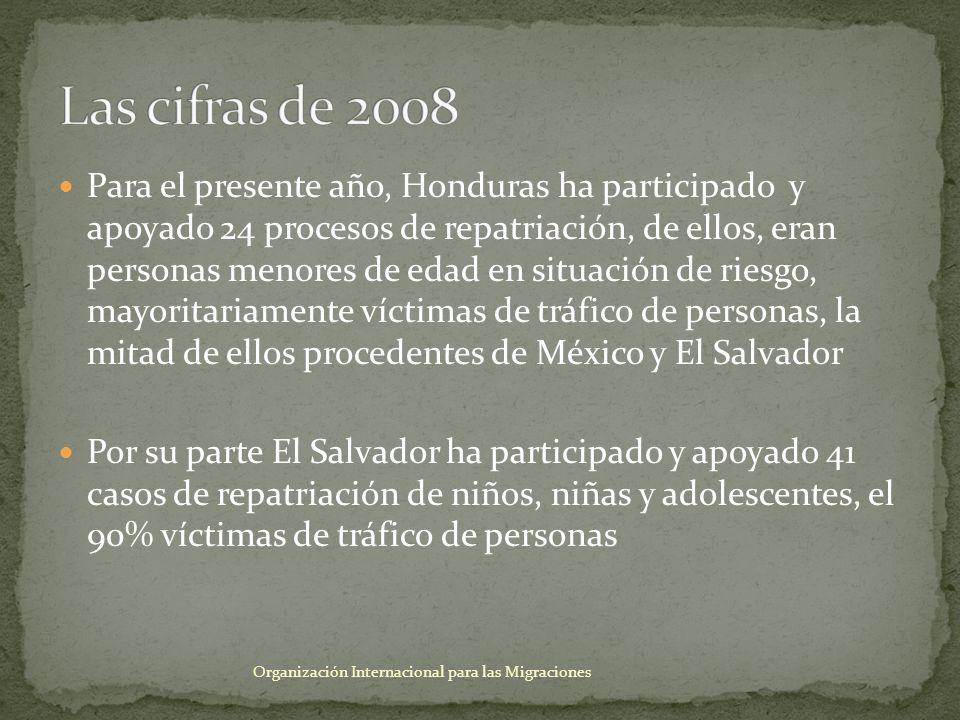 El vínculo mayoritario es con el Instituto Salvadoreño para el Desarrollo Integral de la Niñez y la Adolescencia (ISNA) y el Instituto Hondureño de la Niñez y la Familia (IHNFA), son ellos quienes hacen el requerimiento de colaboración a OIM La información proporcionada en los casos de víctimas de tráfico de personas son mínimos, se trata de un oficio que detalla únicamente los nombres, las edades y en forma muy escueta que se trata de una víctima de tráfico de personas, no se puede conocer las condiciones en las que se encuentra la víctima Organización Internacional para las Migraciones