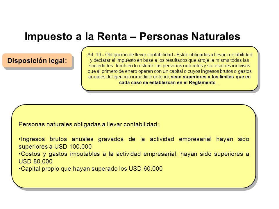 Impuesto a la Renta – Personas Naturales Disposición legal: Personas naturales obligadas a llevar contabilidad: Ingresos brutos anuales gravados de la