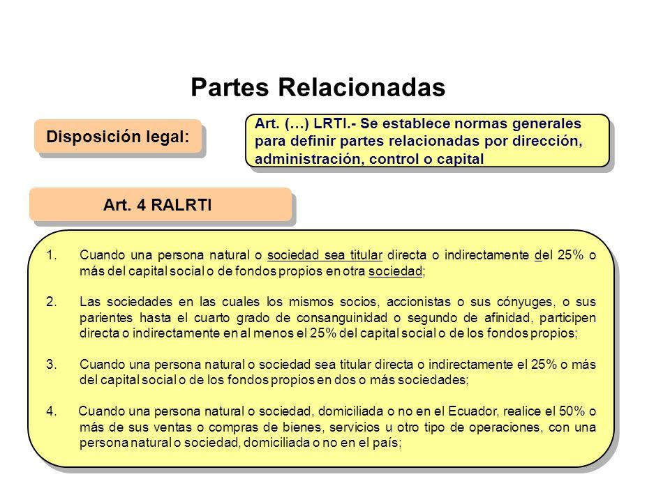 Partes Relacionadas Disposición legal: Art. 4 RALRTI 1.Cuando una persona natural o sociedad sea titular directa o indirectamente del 25% o más del ca