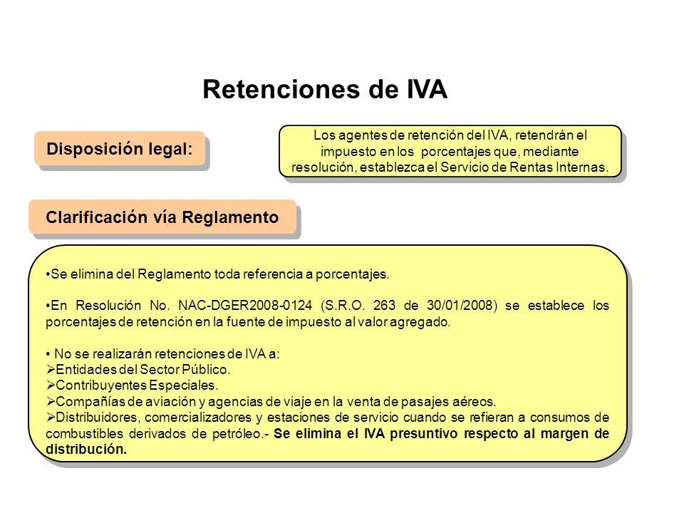 Retenciones de IVA Disposición legal: Clarificación vía Reglamento Se elimina del Reglamento toda referencia a porcentajes. En Resolución No. NAC-DGER