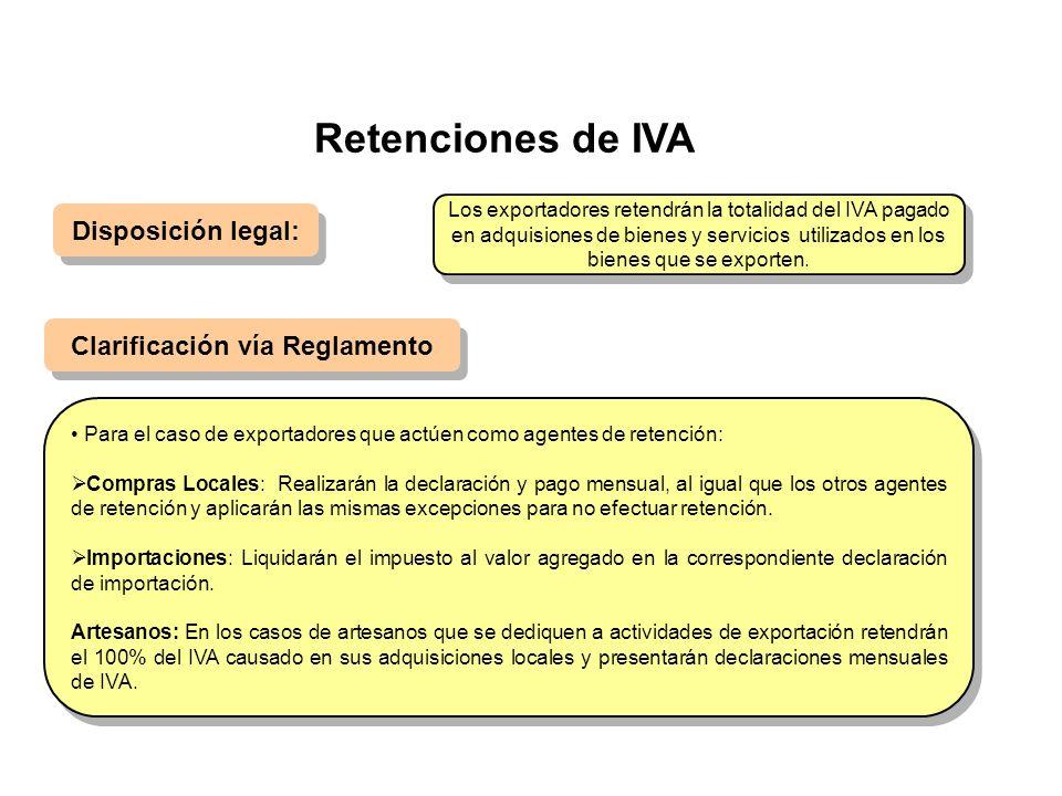 Retenciones de IVA Disposición legal: Clarificación vía Reglamento Para el caso de exportadores que actúen como agentes de retención: Compras Locales: