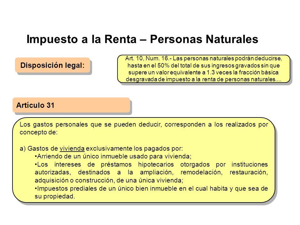 Impuesto a la Renta – Personas Naturales Disposición legal: Artículo 31 Los gastos personales que se pueden deducir, corresponden a los realizados por