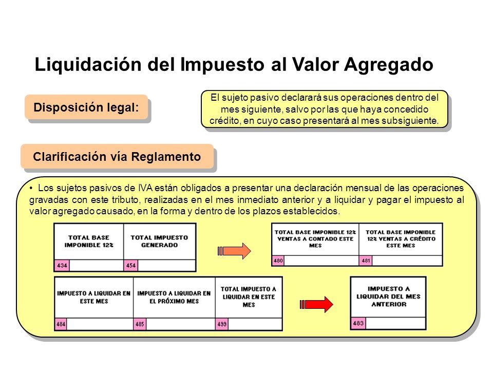Liquidación del Impuesto al Valor Agregado Disposición legal: Clarificación vía Reglamento Los sujetos pasivos de IVA están obligados a presentar una