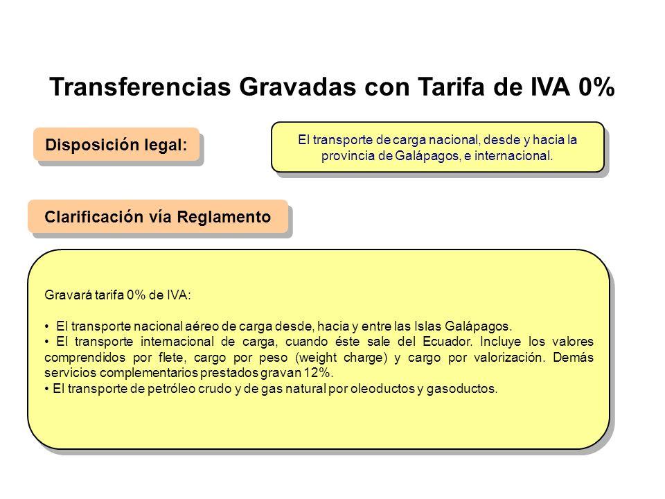 Disposición legal: Clarificación vía Reglamento Gravará tarifa 0% de IVA: El transporte nacional aéreo de carga desde, hacia y entre las Islas Galápag