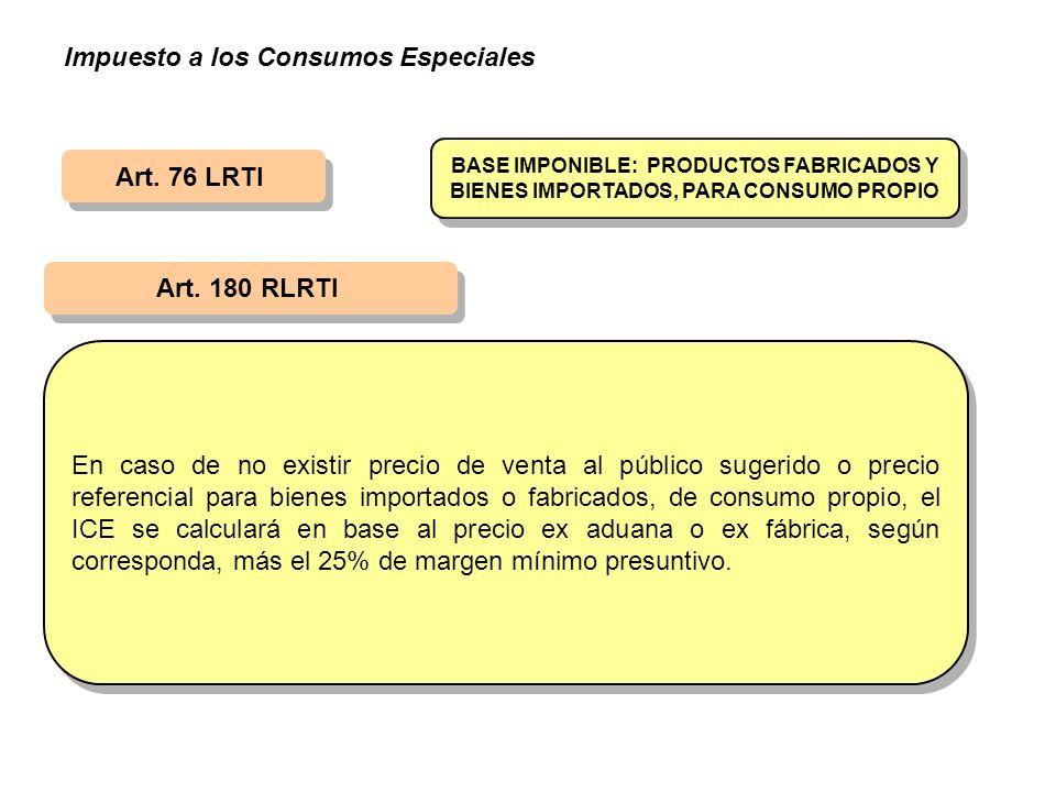 Art. 180 RLRTI En caso de no existir precio de venta al público sugerido o precio referencial para bienes importados o fabricados, de consumo propio,