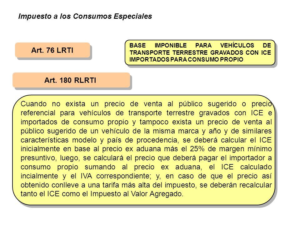 Art. 76 LRTI Art. 180 RLRTI BASE IMPONIBLE PARA VEHÍCULOS DE TRANSPORTE TERRESTRE GRAVADOS CON ICE IMPORTADOS PARA CONSUMO PROPIO Cuando no exista un