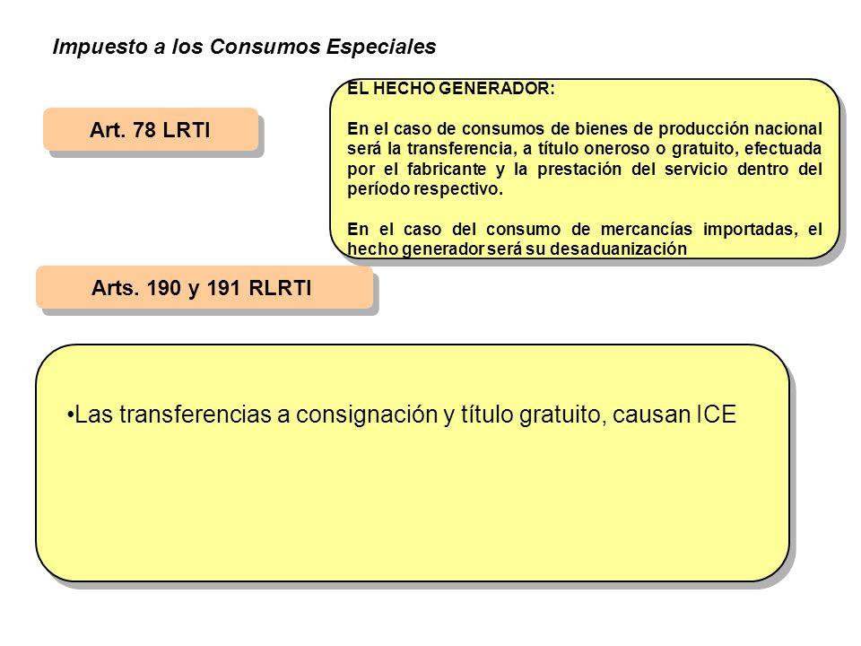 Art. 78 LRTI Arts. 190 y 191 RLRTI EL HECHO GENERADOR: En el caso de consumos de bienes de producción nacional será la transferencia, a título oneroso