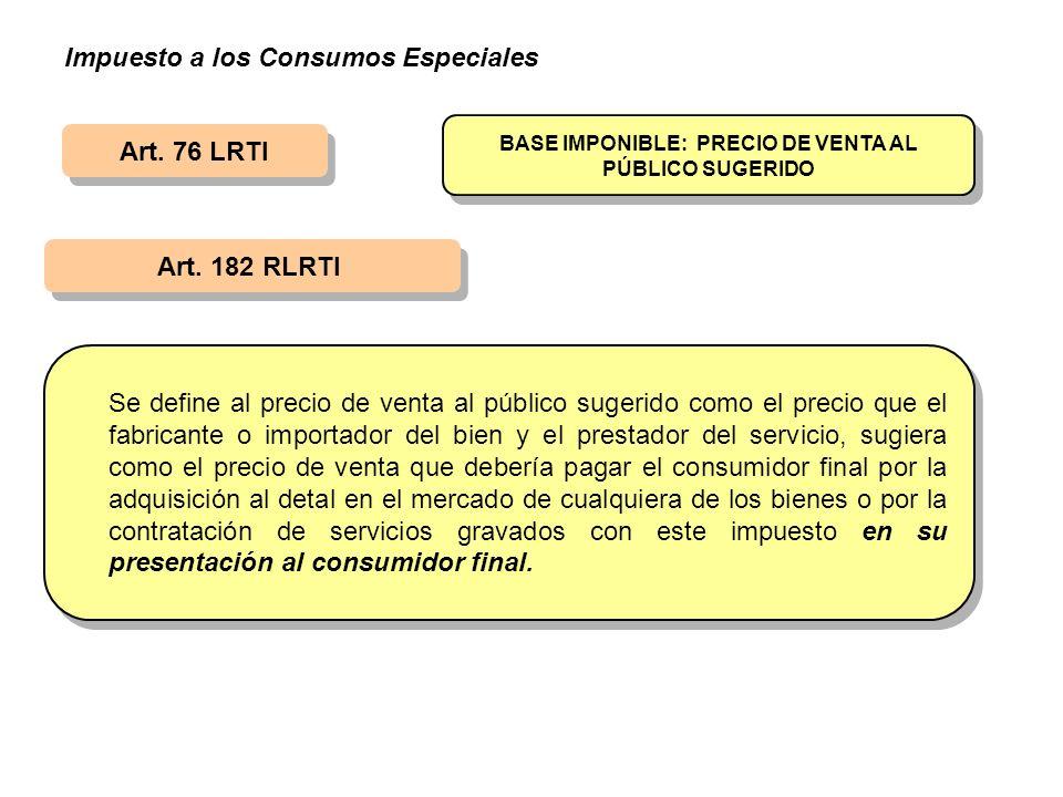 Art. 76 LRTI Art. 182 RLRTI BASE IMPONIBLE: PRECIO DE VENTA AL PÚBLICO SUGERIDO Se define al precio de venta al público sugerido como el precio que el