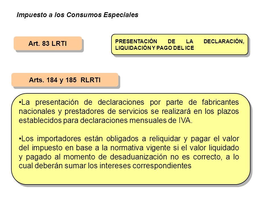 Art. 83 LRTI Arts. 184 y 185 RLRTI PRESENTACIÓN DE LA DECLARACIÓN, LIQUIDACIÓN Y PAGO DEL ICE La presentación de declaraciones por parte de fabricante