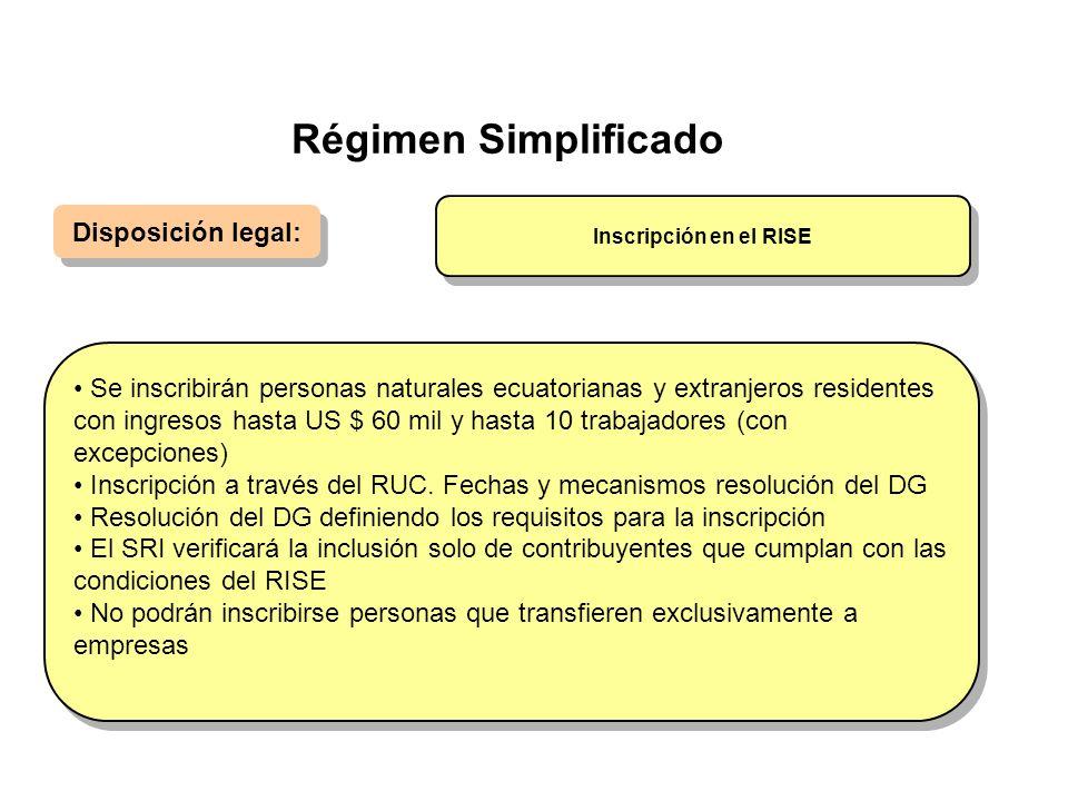 Régimen Simplificado Disposición legal: Se inscribirán personas naturales ecuatorianas y extranjeros residentes con ingresos hasta US $ 60 mil y hasta