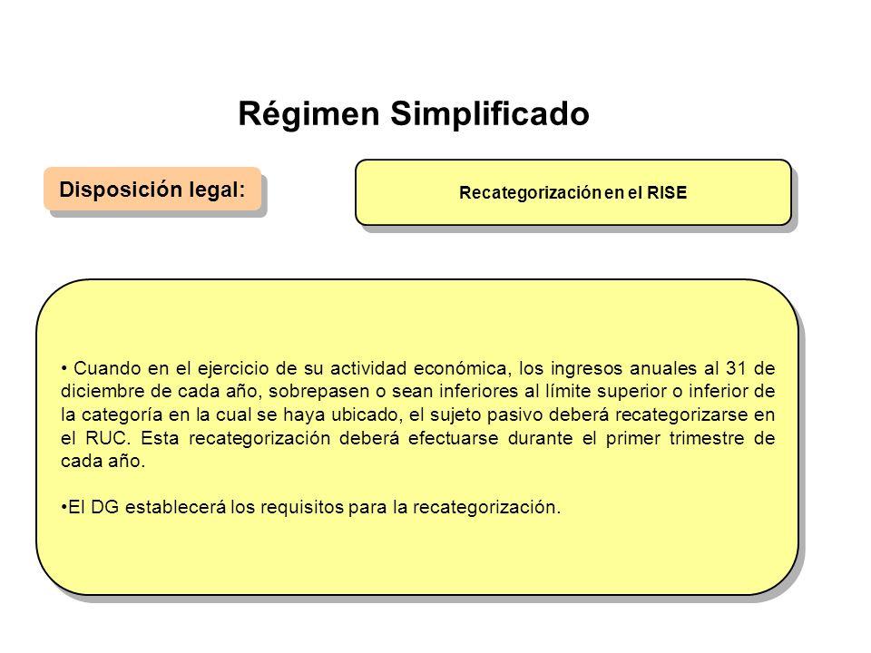 Régimen Simplificado Disposición legal: Cuando en el ejercicio de su actividad económica, los ingresos anuales al 31 de diciembre de cada año, sobrepa