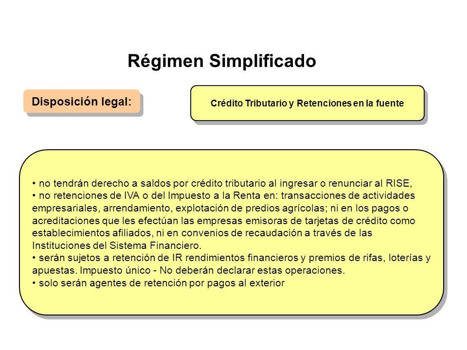 Régimen Simplificado Disposición legal: no tendrán derecho a saldos por crédito tributario al ingresar o renunciar al RISE, no retenciones de IVA o de