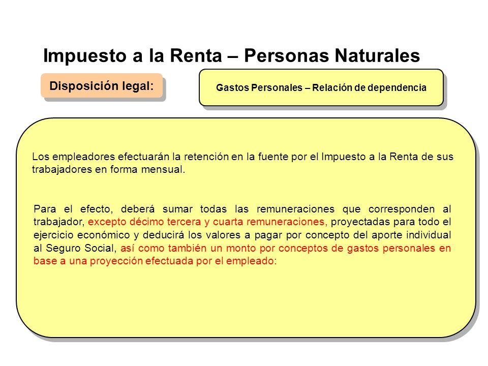 Impuesto a la Renta – Personas Naturales Disposición legal: Los empleadores efectuarán la retención en la fuente por el Impuesto a la Renta de sus tra