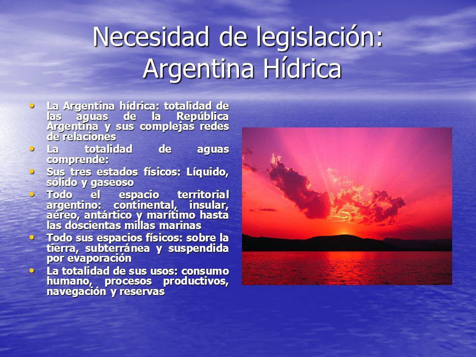 Necesidad de legislación: Argentina Hídrica La Argentina hídrica: totalidad de las aguas de la República Argentina y sus complejas redes de relaciones