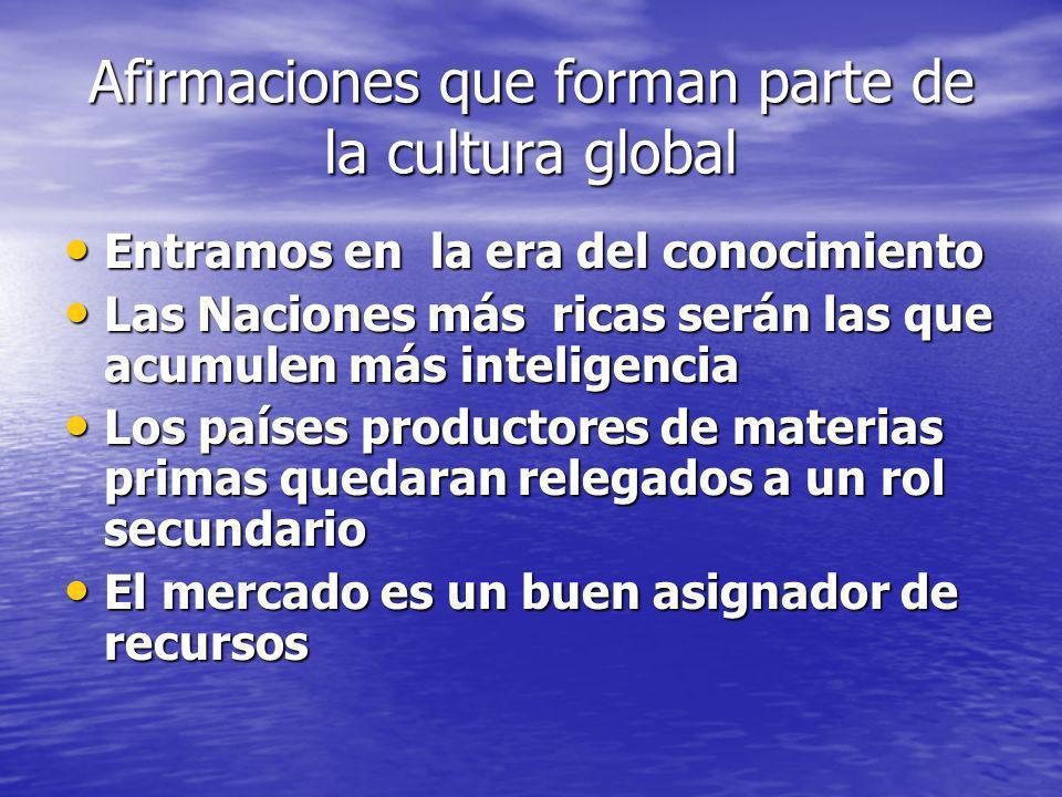 Afirmaciones que forman parte de la cultura global Entramos en la era del conocimiento Entramos en la era del conocimiento Las Naciones más ricas será