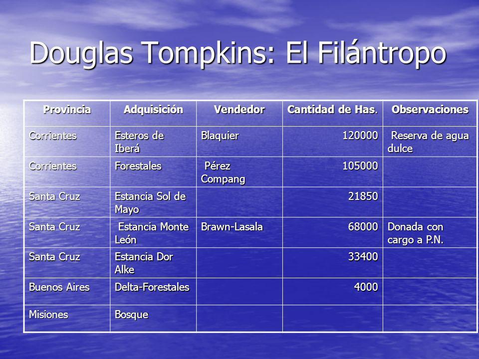 Douglas Tompkins: El Filántropo ProvinciaAdquisiciónVendedor Cantidad de Has. Observaciones Corrientes Esteros de Iberá Blaquier120000 Reserva de agua